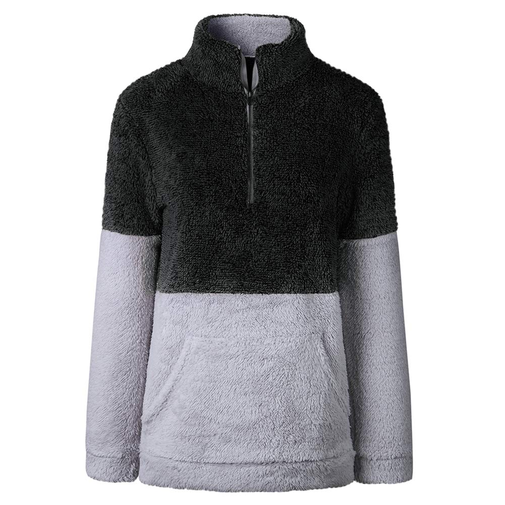Women/'s Fleece Pullover Sweatshirt Long Sleeve 1//4 Zipper Color Block Sherpa Outwear Coat