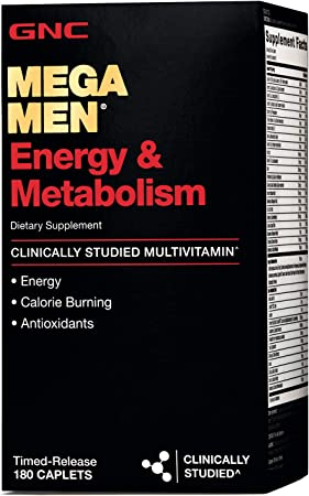 GNC Mega Men Energy and Metabolism Multivitamin for Men, 180 Count, for Increased Energy, Metabolism, and Calorie Burning