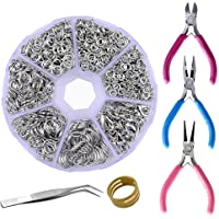 Supla Jewelry Making findings Open Jump Rings 4mm 5mm 6mm 7mm 8mm 10mm 21 Gauge and 19 Gauge,Lobster Claw Clasp 12 x 7mm and Round Nose Pliers, Flat Nose Pliers, Side-Cutting Pliers (Dull Silver)