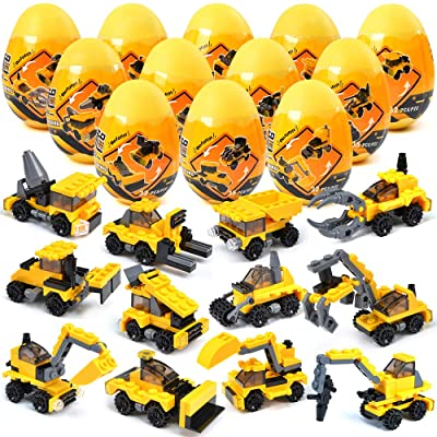 12 Pcs Easter Eggs Pre Filled with Construction Vehicles Building Blocks Toy Set for Easter Basket Stuffers Fillers Easter Egg Hunts Easter Party Favors for Kids Classroom Prize Supplies: Toys & Games