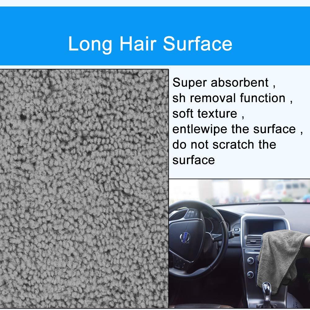 KinHwa Premium Panno in Microfibra per Auto Lavaggio a Secco Lucidatura di Auto Due Diversi Lati Estremamente Assorbente e Privo di Lanugine Grigio, 40cm x 40cm 4pack
