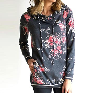 gotd Womens Floral impresión manga larga sudadera con capucha sudadera sudadera con capucha sudadera Tops blusa
