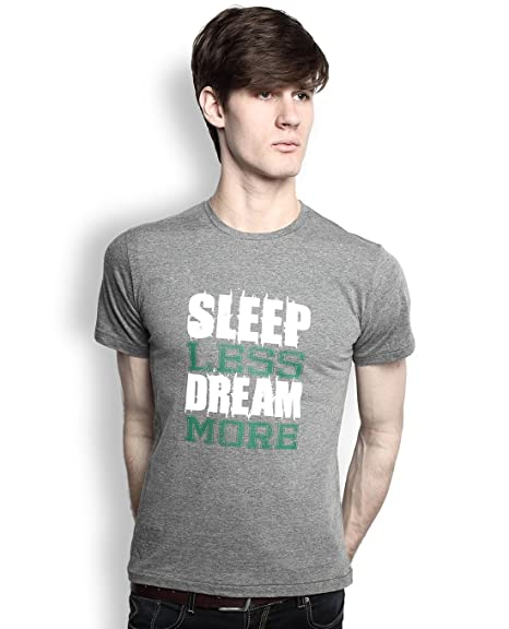 f9518d7dc904 TOMO Men's Cotton Charcoal Grey Color Round Neck SLEEP LESS DREAM MORE  Printed T-shirt: Amazon.in: Clothing & Accessories
