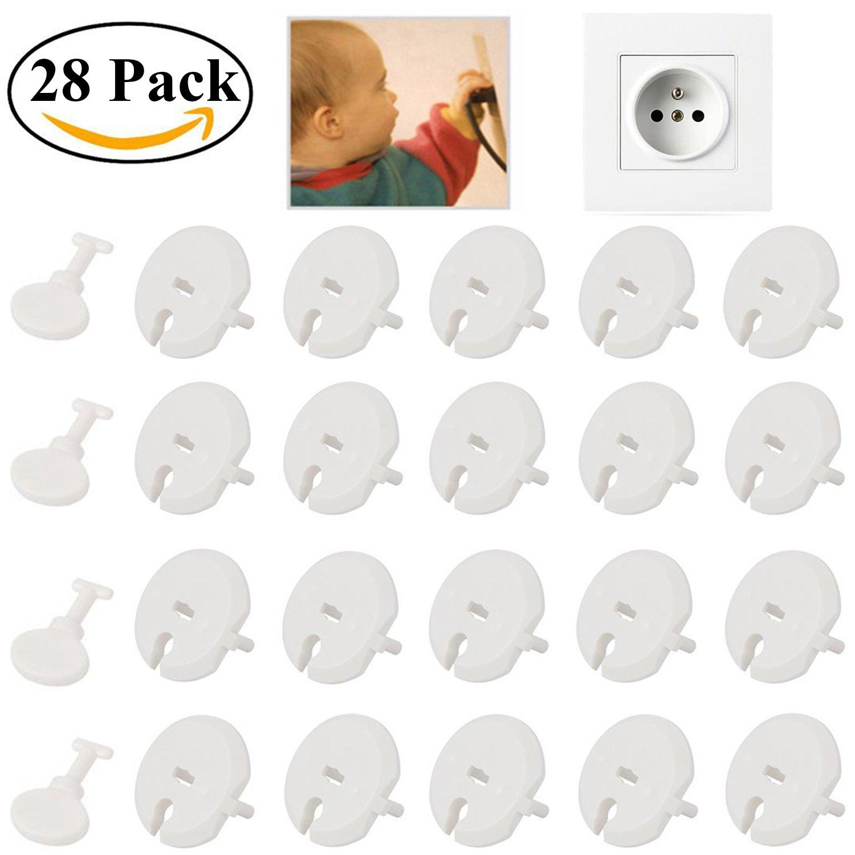 Ouinne 24pcs Cache Prise Bébé avec 4pcs Clé Prise de Courant avec Systeme Rotatif pour Sécurité Enfant