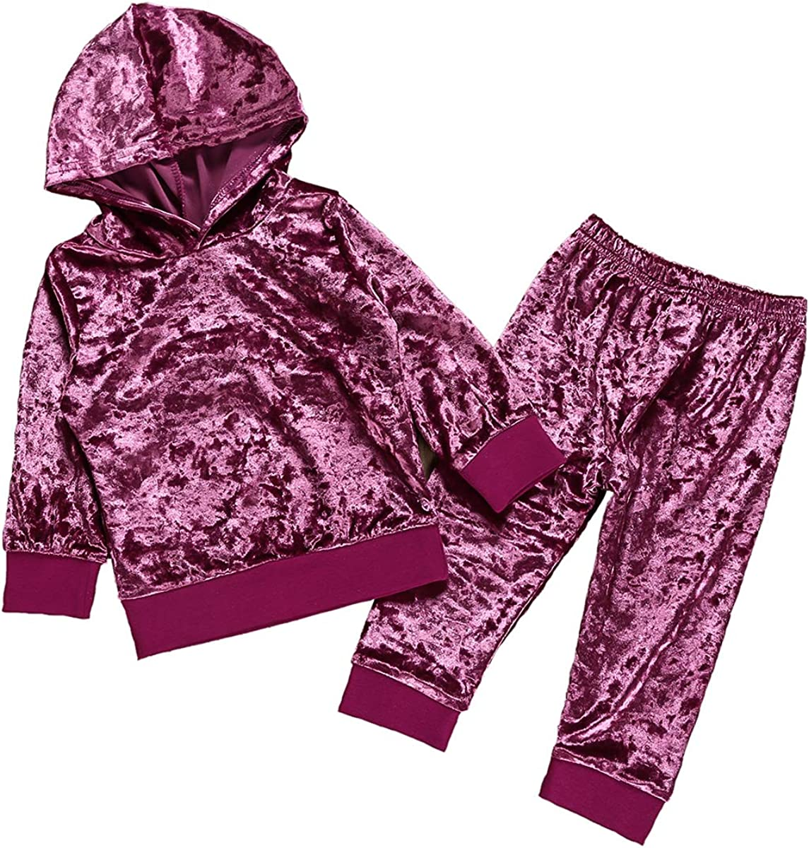Camidy 1-6Y Girls Velvet Sweatshirt Tops Pants Fashion Sports Tracksuit Clothes Set