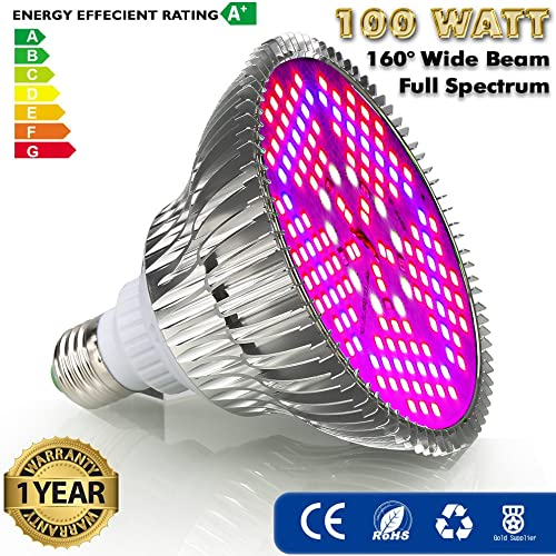 ZOTRON Real Grow Light 100W, New Generation Growing LED Light Bulbs for Greenhouse, Indoor Plants and Hydroponic Garden, Full Spectrum Growing Lamps 160 Degree Wide Area Coverage
