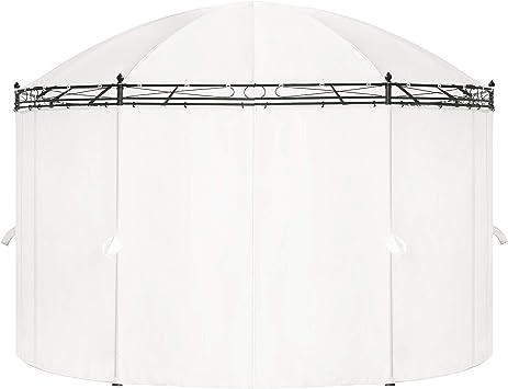 vidaXL Cenador de Jardín Ovalado con Cortinas Acero y Tela Blanco Crema Carpa: Amazon.es: Hogar