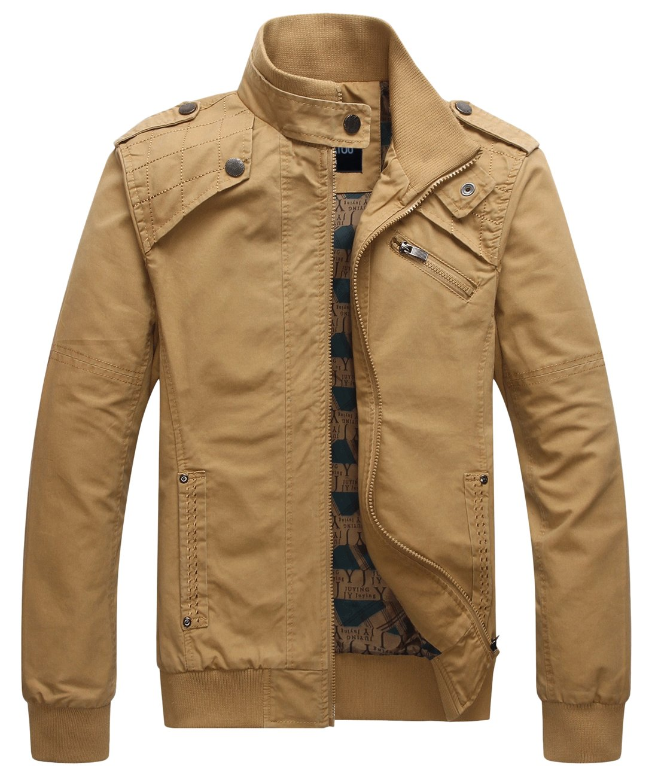 chouyatou Men's Casual Long Sleeve Full Zip Jacket with Shoulder Straps (Medium, Khaki) by chouyatou