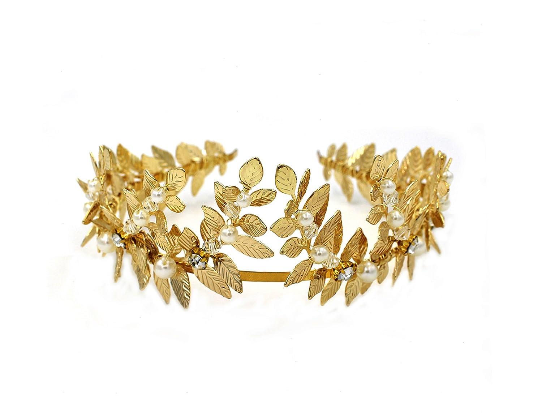OUMOU Greek/Roman Gold Leaf Crown Headpiece - Bridal Wedding Headband Leaf Crown-O870