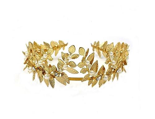 La Diosa griega romana Oro Leaf diadema Tiara Novia - boda accesorios para  el pelo con lazo  Amazon.es  Joyería 1ba69c4e1fe4