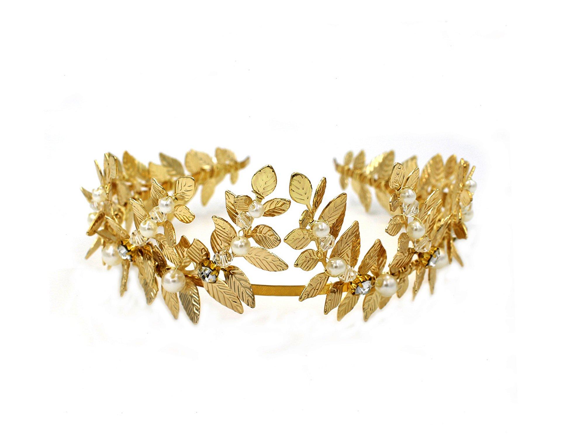 OUMOU Greek/Roman Gold Leaf Crown Headpiece – Bridal Wedding Headband