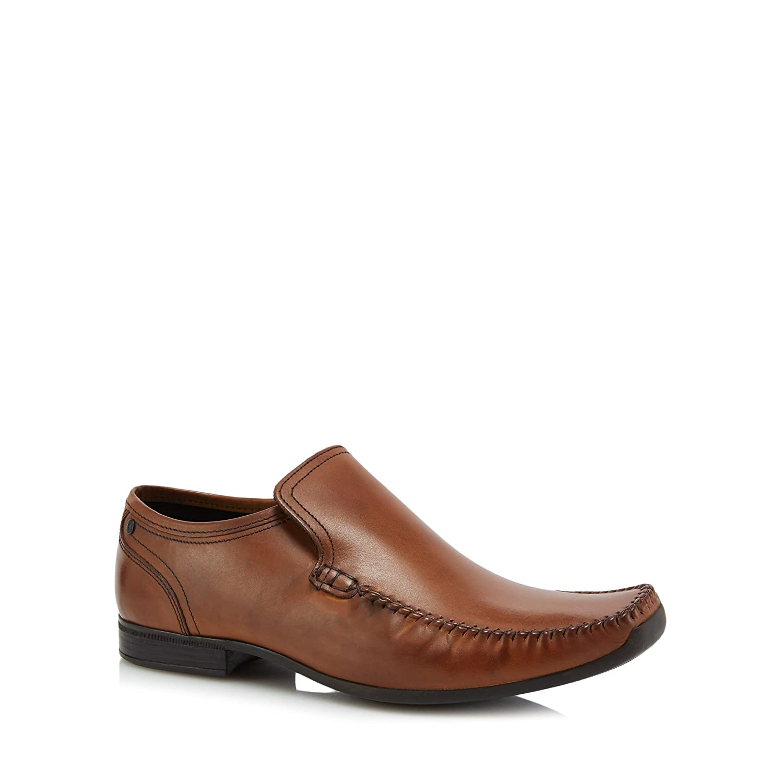 Base London Men Tan Leather Acrobat Slip-On Shoes