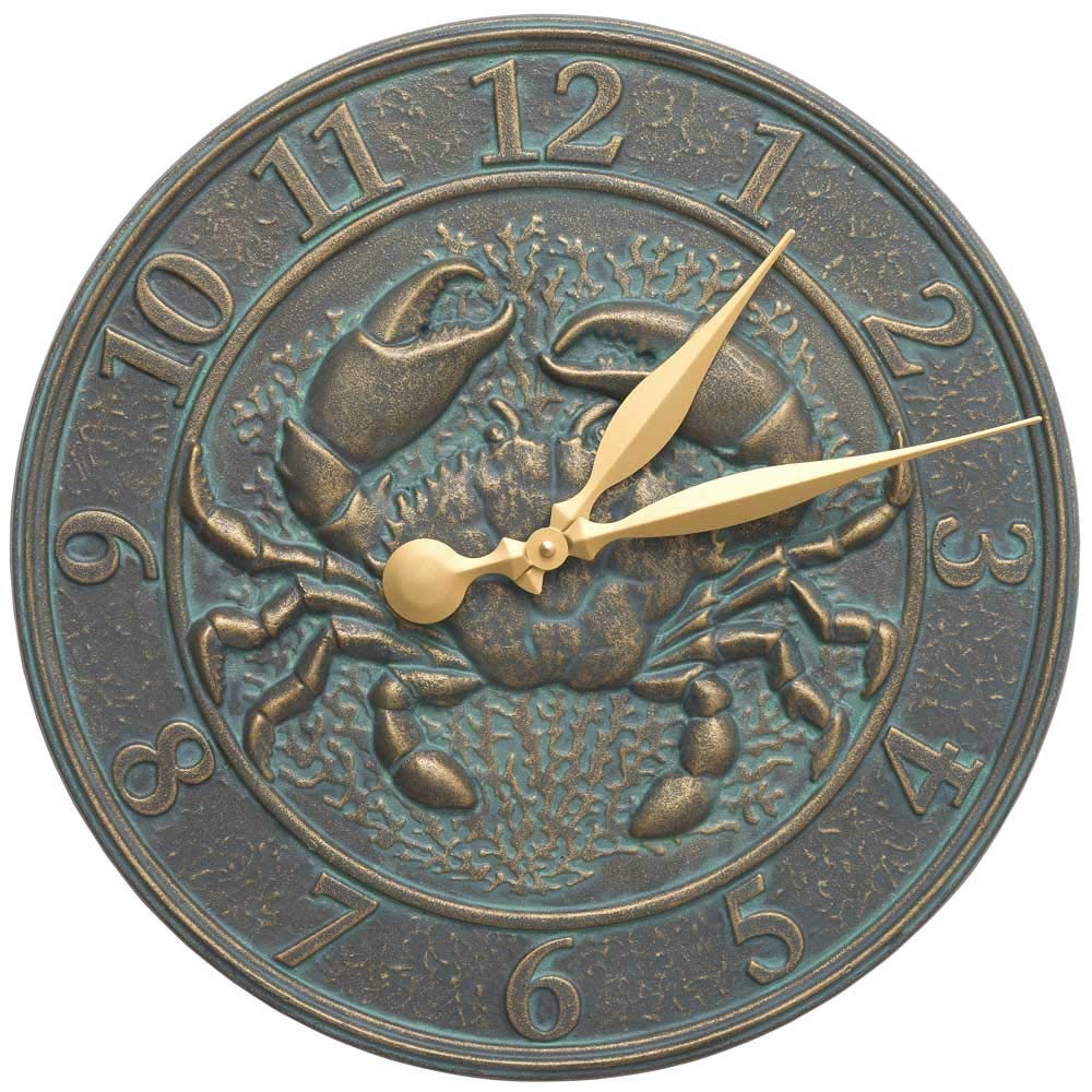 SKB family Patio Clock - Crab Sea Life, 16'' x 16'' x 1'' x 4.5 lbs, Bronze Verdigris