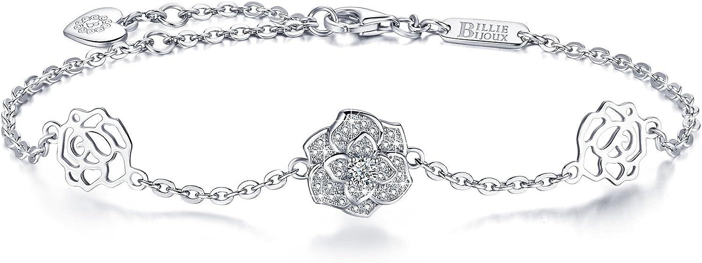 Billie Bijoux para Mujer Plata de Ley 925 Diamante Flor Rosa Símbolo de Amor Encanto Pulsera Ajustable para Mujeres niñas Chapado en Oro Blanco