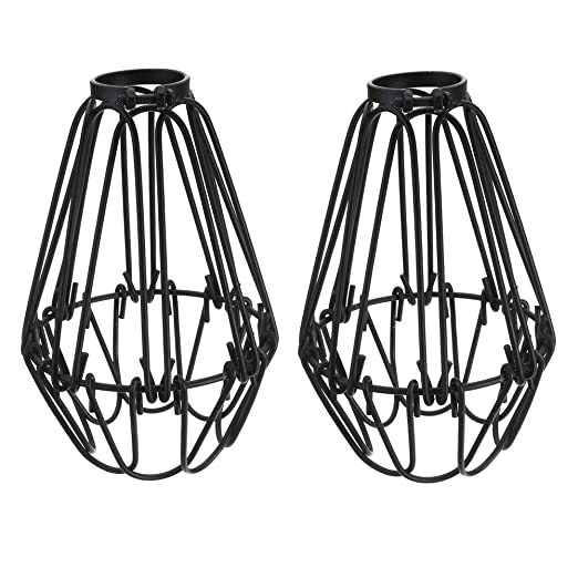 Adjustable wire cage lampshade motent 2pcs vintage industrial metal adjustable wire cage lampshade motent 2pcs vintage industrial metal bird cage bulb guard island pendant greentooth Gallery