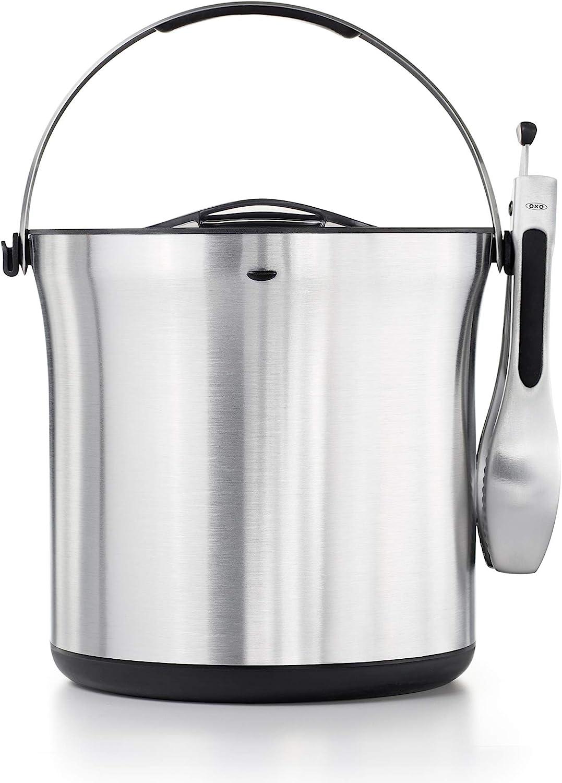 Amazon Com Oxo Ice Bucket And Tongs Set Brushed Stainless Steel Stainless Steel Ice Bucket Kitchen Dining