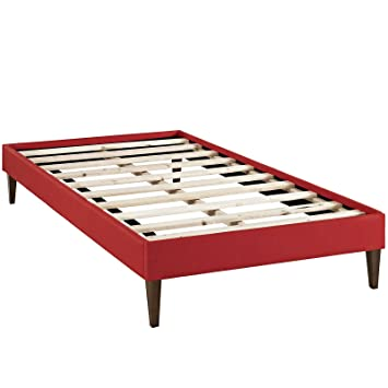 modway sharon twin fabric bed frame with squared tapered legs atomic red - Fabric Bed Frames