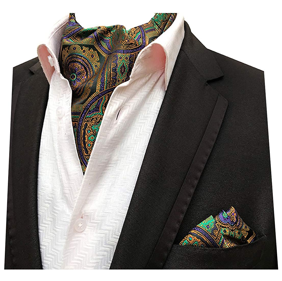 39e8df410f2e MENDENG Ascot Ties and Pocket Square Sets for Men Paisley Floral Cravat  Gold at Amazon Men's Clothing store: