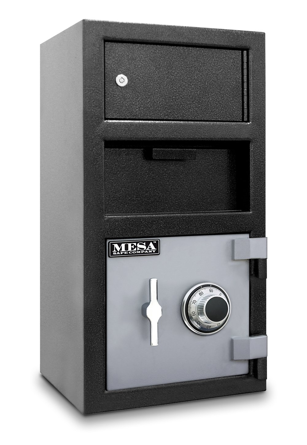 Mesa Safe MFL2014C-OLK All Steel Depository Safe with Outer Locker, with Combination Lock, 1.5-Cubic Feet, Black/Grey