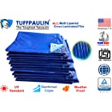TUFFPAULIN (9x9 ft, Blue) Tarpaulin Sheet Waterproof |UV Treated|Multi Layered-Cross Laminated|Virgin Plastic Extra Strong Tirpal Tarpal IS14611:2016 Approved (120 GSM)