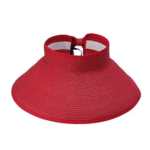 ACVIP Womens Ladies Straw Hat Wide Brim Roll-up Sun Visor Red at ... 40c40eee131
