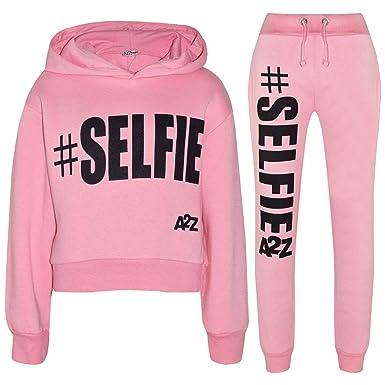 98f57500c390 A2Z 4 Kids Kids Girls Tracksuit Designer #Selfie Hooded Crop Top Bottom  Jogging Suit 5