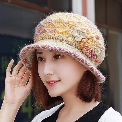 YANGFEIFEI-MZ Sombrero de otoño e invierno mujer anciana madre de terciopelo grueso borde de