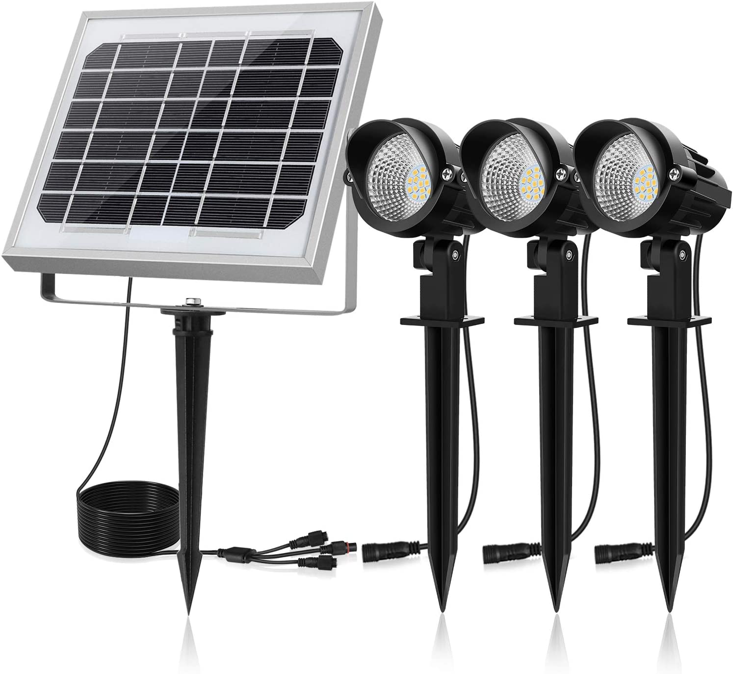 CLY Solar Spotlights LED 3 in 1, Solar Landscape Lights Solar Spot Lights Outdoor, Waterproof IP66, Solar Powered Lights Wall Lights Security Lighting for Garden, Lawn, Patio, Yard, 3000K Warm White