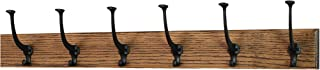 product image for PegandRail Solid Oak Wall Mounted Coat Rack - Large Black Mission Hooks - Made in The USA (Walnut, 30.5 x 3.5-6 Hooks)