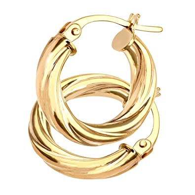 Citerna Shiny and Frosted Crossover Oval Hoop 9 ct Yellow Gold Earrings VtyXqBVecl