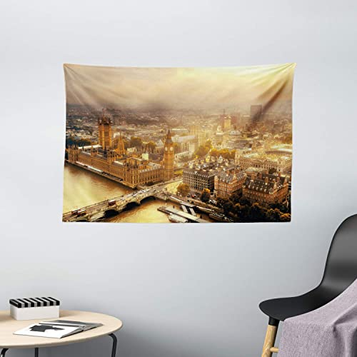 Ambesonne Cityscape Tapestry, Westminster Aerial View with Thames River and London Urban Cityscape Panoramic, Wide Wall Hanging for Bedroom Living Room Dorm, 60 X 40 , Yellow