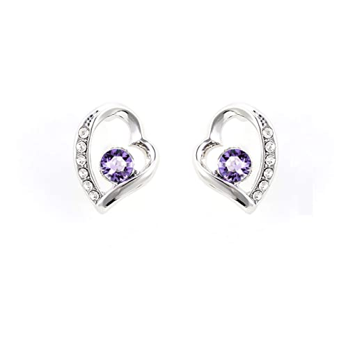 29fdd50f1 JULIANI 18k-Gold-Plated Love Stud Earrings - Fashion Hypoallergenic Heart 2  CTTW Purple