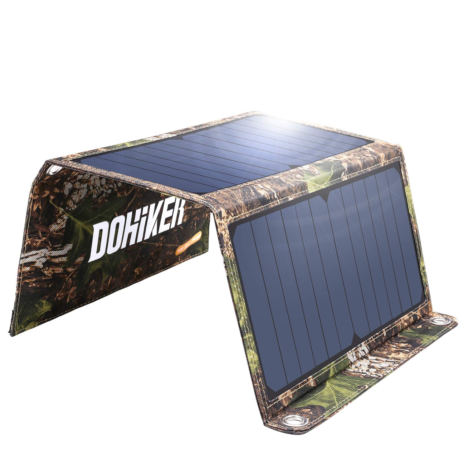 Portable Foldable Solar Panel Charger, 14W Solar Phone Charger with 3 USB Ports,Durable & Waterproof Solar Charger for Cell Phone, PowerBank, and Electronic Devices, Great for Camping, Hiking (14W) by Dohiker