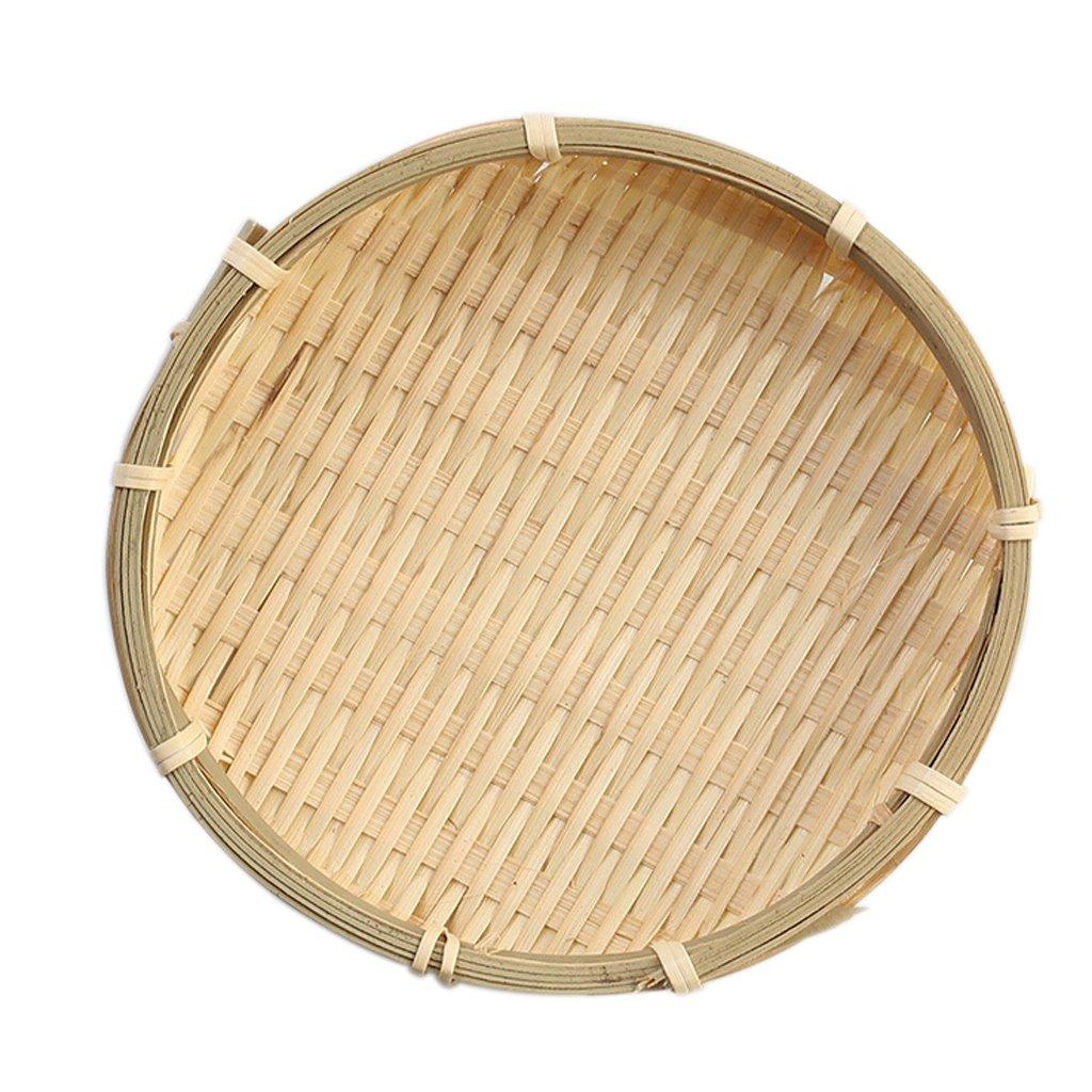 MagiDeal Bamboo Plate Servizio Piatto in Legno Weave Setaccio Spaccio Alimentare Cestello - 13 × 2 cm