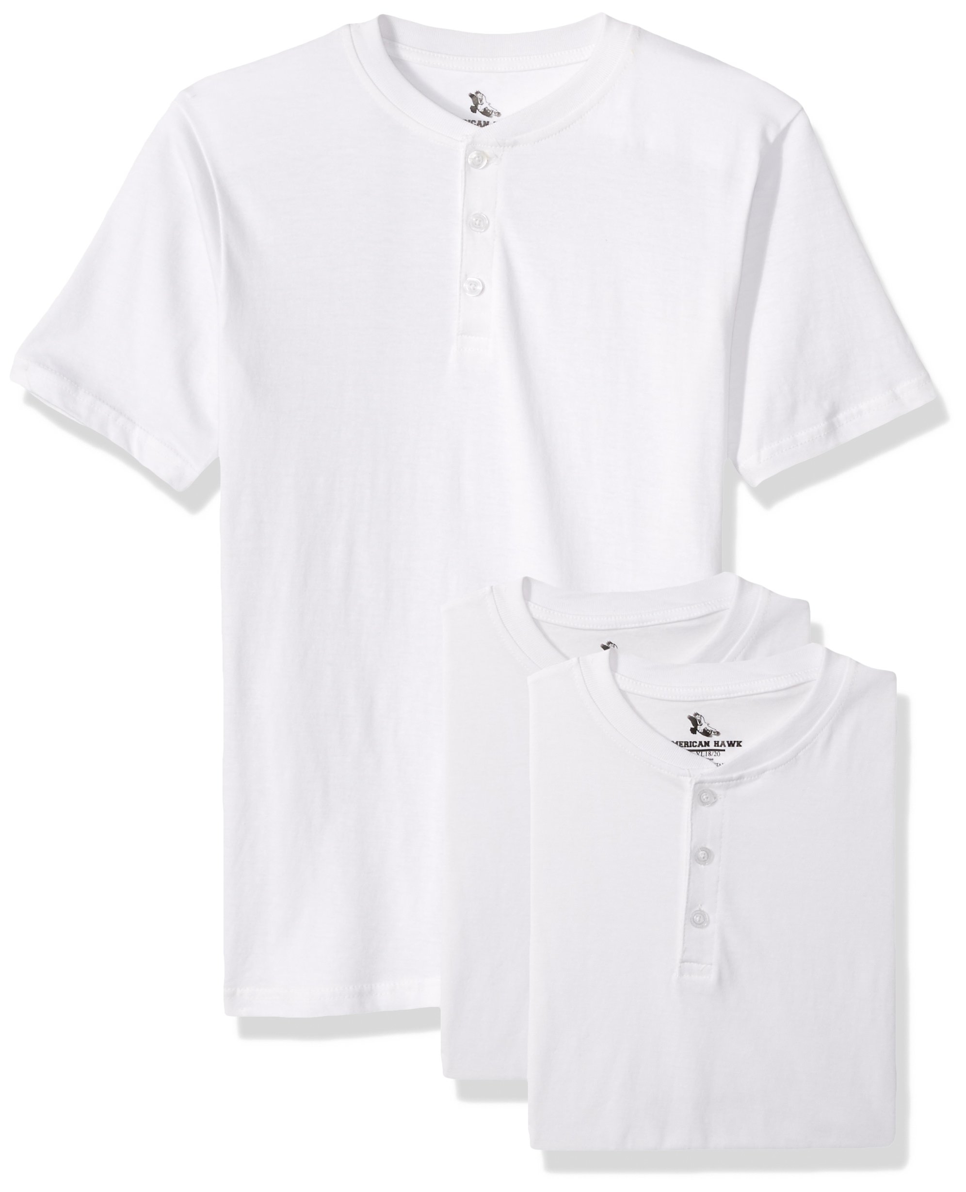 American Hawk Little Boys 3 Piece Pack Henley Shirt White/White/White 4T/4