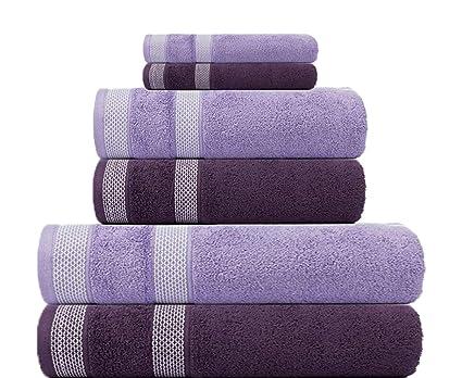 e16ea091aa Casa Copenhagen Solitaire Egyptian Cotton 17.70 oz/yd² Thick 6 Pieces  Designer Bath, Hand & Washcloth/Face Towels Set -Italian Plum & Lavendar:  Amazon.in: ...