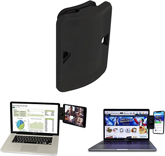 Dockem DuoScreen Laptop Mount with Upgraded Grip Compatible with iPad and Tablets; Stand for Dual Display Setup; Dock to Laptop or UltraBook; Bracket Connects Tablet//Smartphone Black