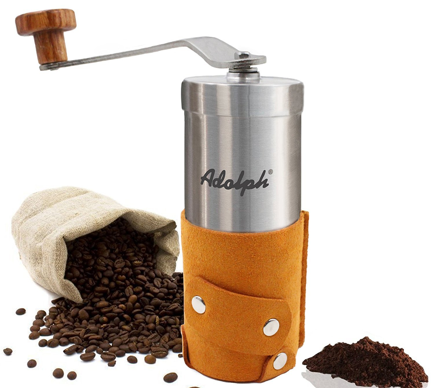 Adolph Premium Portable Manual Coffee Grinder with Authentic Leather Wrapped - Hand Crank Coffee Mill with Adjustable Ceramic Conical Burr - Top Grade