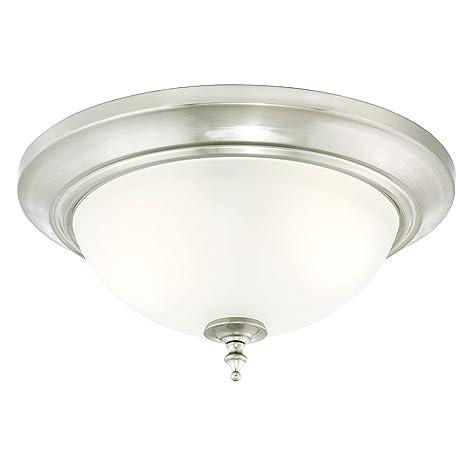Westinghouse 63056 Lámpara de Techo de 33 cm para Interiores, Acabado en níquel Cepillado con Cristal Esmerilado