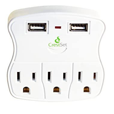 Portable USB Wall Outlet, Surge Protection, 2 USB Ports 3 AC Ports - 5-Outlet Power Strip - Mini Travel Plugin - Charge iPhones, iPads, Laptops, Tablets, Bathroom, Kitchen and more - by CrestSet