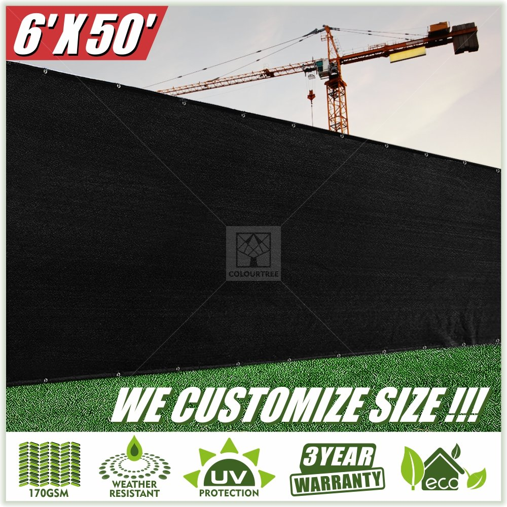 ColourTree 2nd Generation 6' x 50' Black Fence Privacy Screen Windscreen Cover Fabric Shade Tarp Netting Mesh Cloth - Commercial Grade 170 GSM - Heavy Duty - 3 Years Warranty - Custom