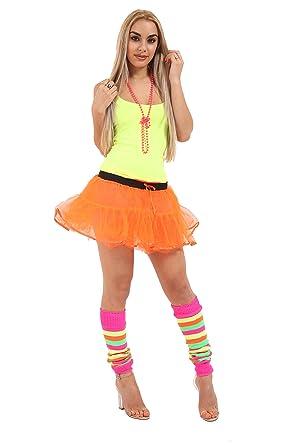 659c7d1ddc CRAZY CHICK® New Women 1980s Fancy Dress Accessories 4PCs Set, 2 Layer Tutu  Skirt, Vest, Necklace Bead, Leg Warmer Party Fancy Dress Accessory For  Theme ...