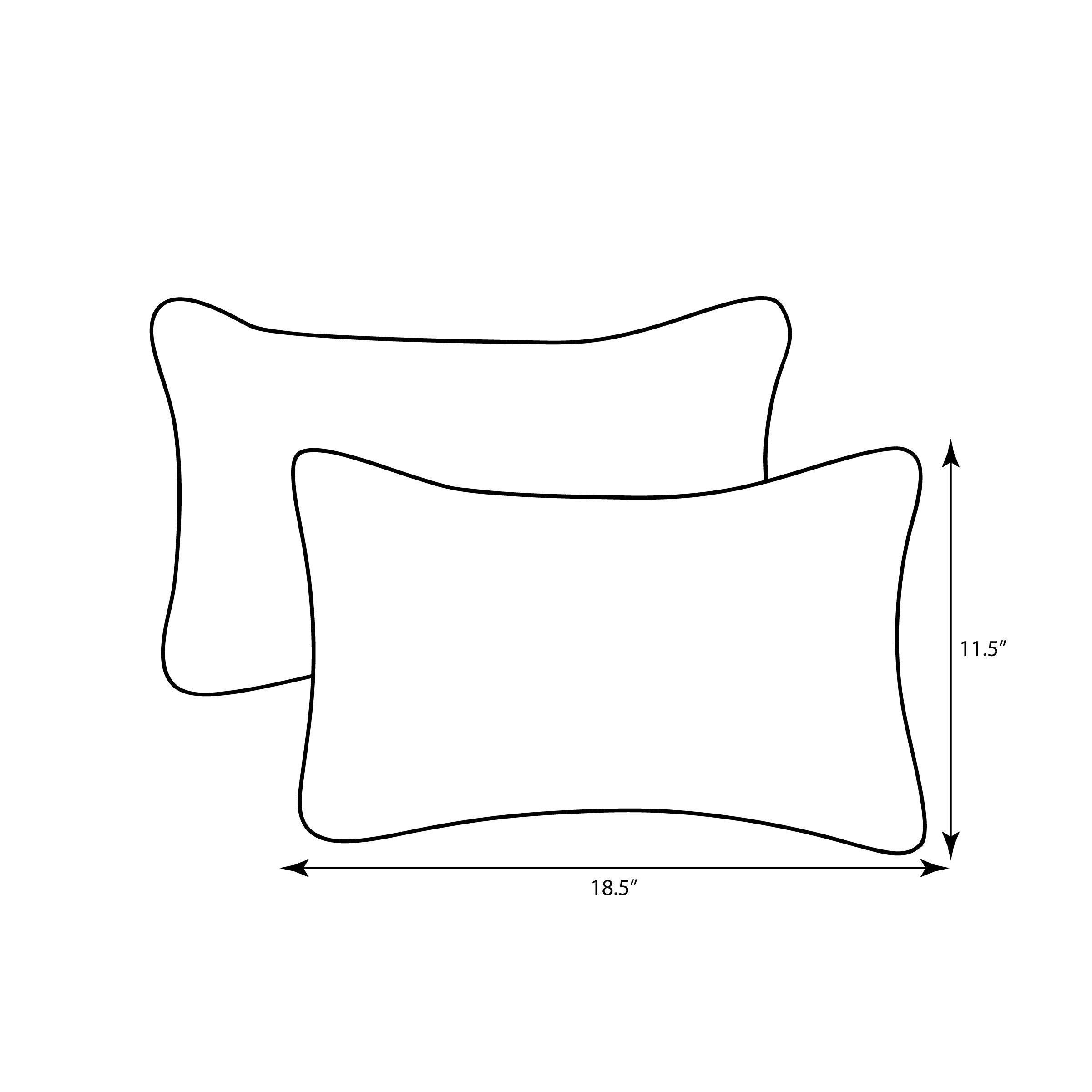 Pillow Perfect Outdoor Fresco Corded Rectangular Throw Pillow, Black, Set of 2 by Pillow Perfect (Image #3)