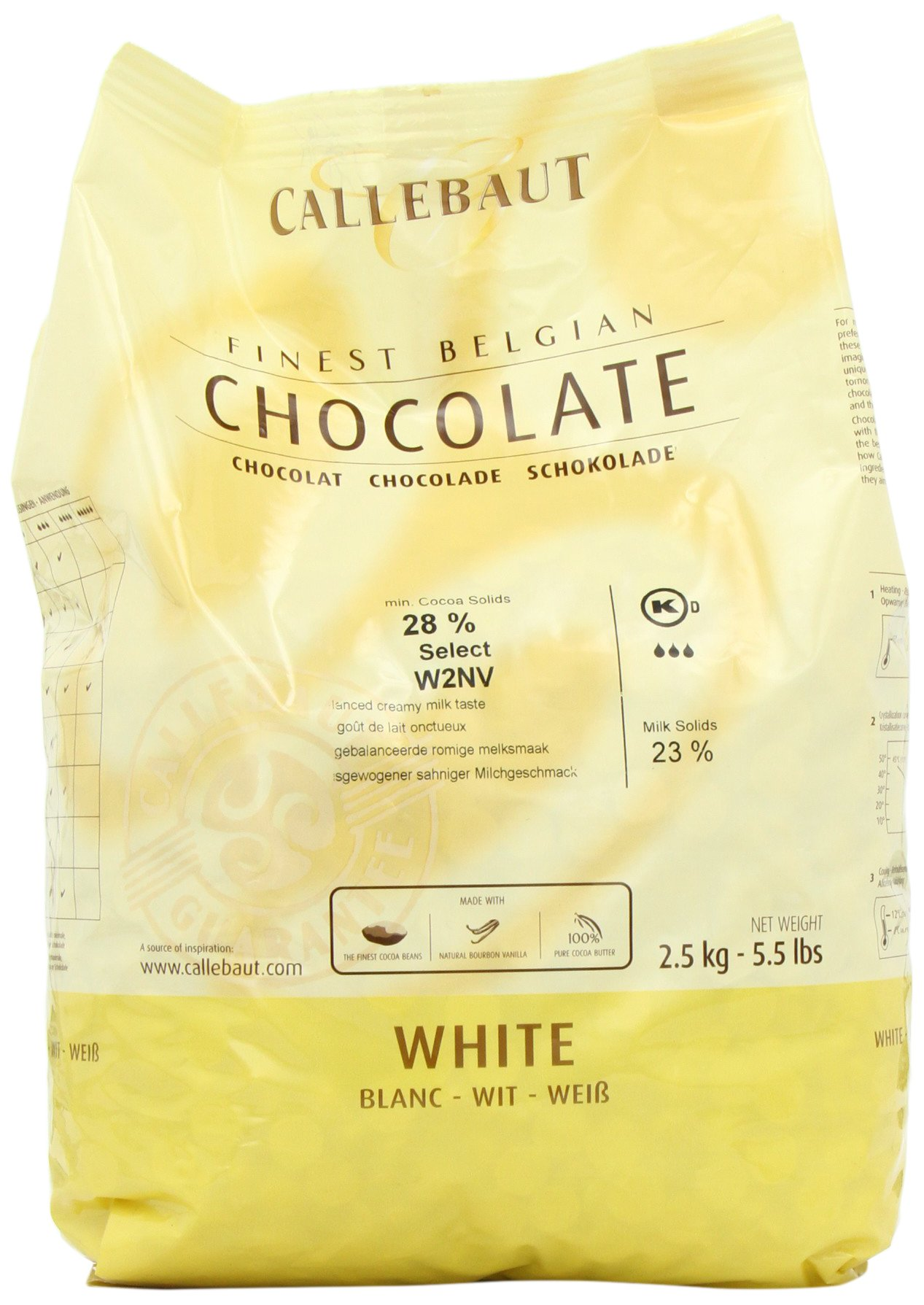 Belgian White Chocolate Baking Callets (Chips) - 1 bag, 5.5 lbs