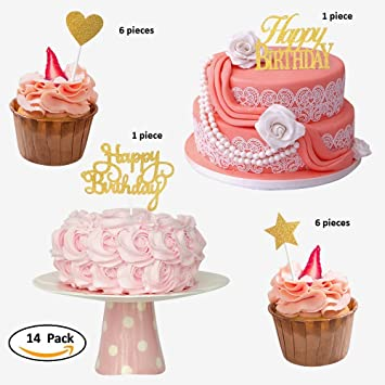 Tangible Creation Happy Birthday Cake Topper 14 Packs Valueset For Cup With Heart