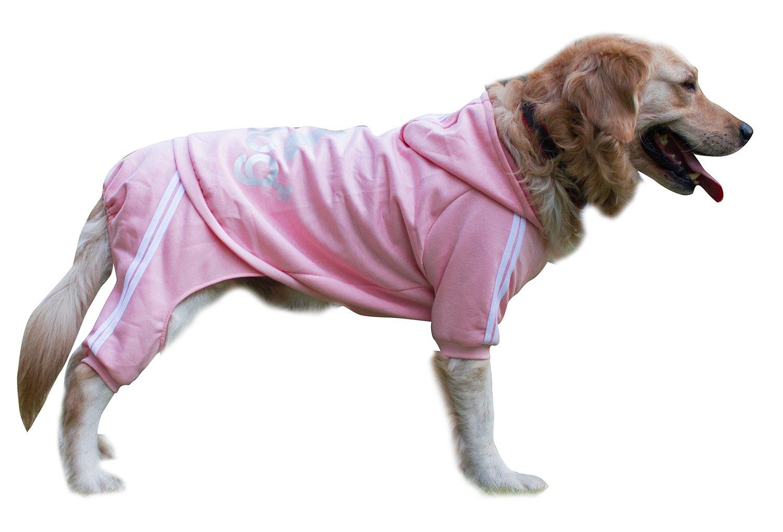 Scheppend Adidog Large Dog Hoodies Sweatshirt Pet Winter Coat Sports Clothes Apparel,Pink 4XL