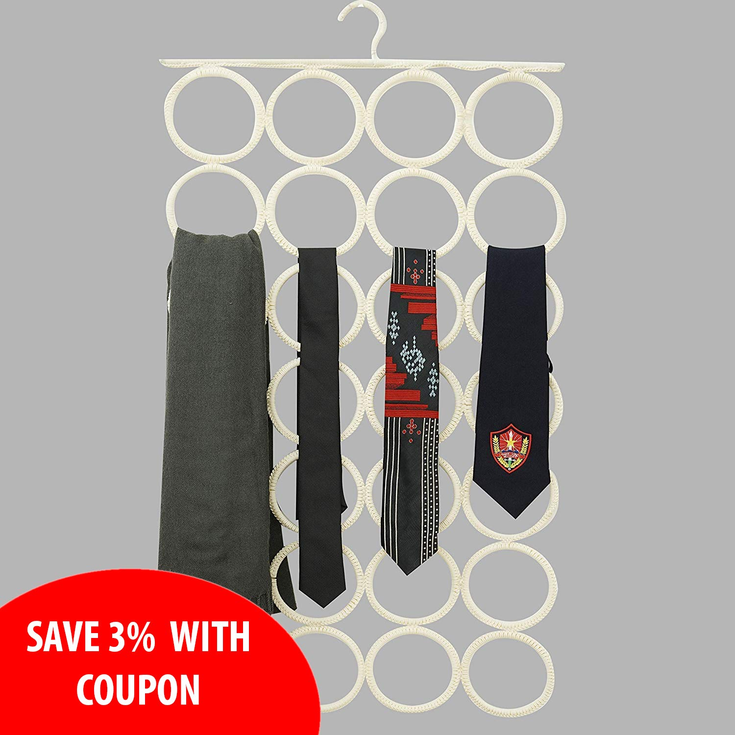 AURALEAP Scarf Organizer, Scarf Hanger 28 Rings, The Best Space Saving Hanger for Scarves,Clothes, Pashminas, Infinity Scarves & Accessories (W17 x L16) (4x7).