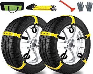 MeiLiMiYu Snow Chains for Car,Universal Adjustable Emergency Traction Snow Mud Security Tire Chains for SUV and Cars-Set of 10 Width7.2-11.6''