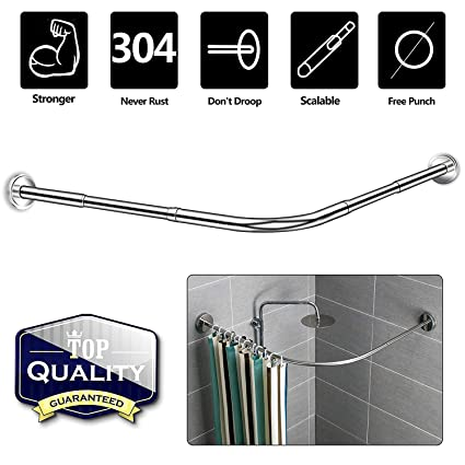 Amazon NiUB5 Curved Shower RodL ShapedCorner Curtain