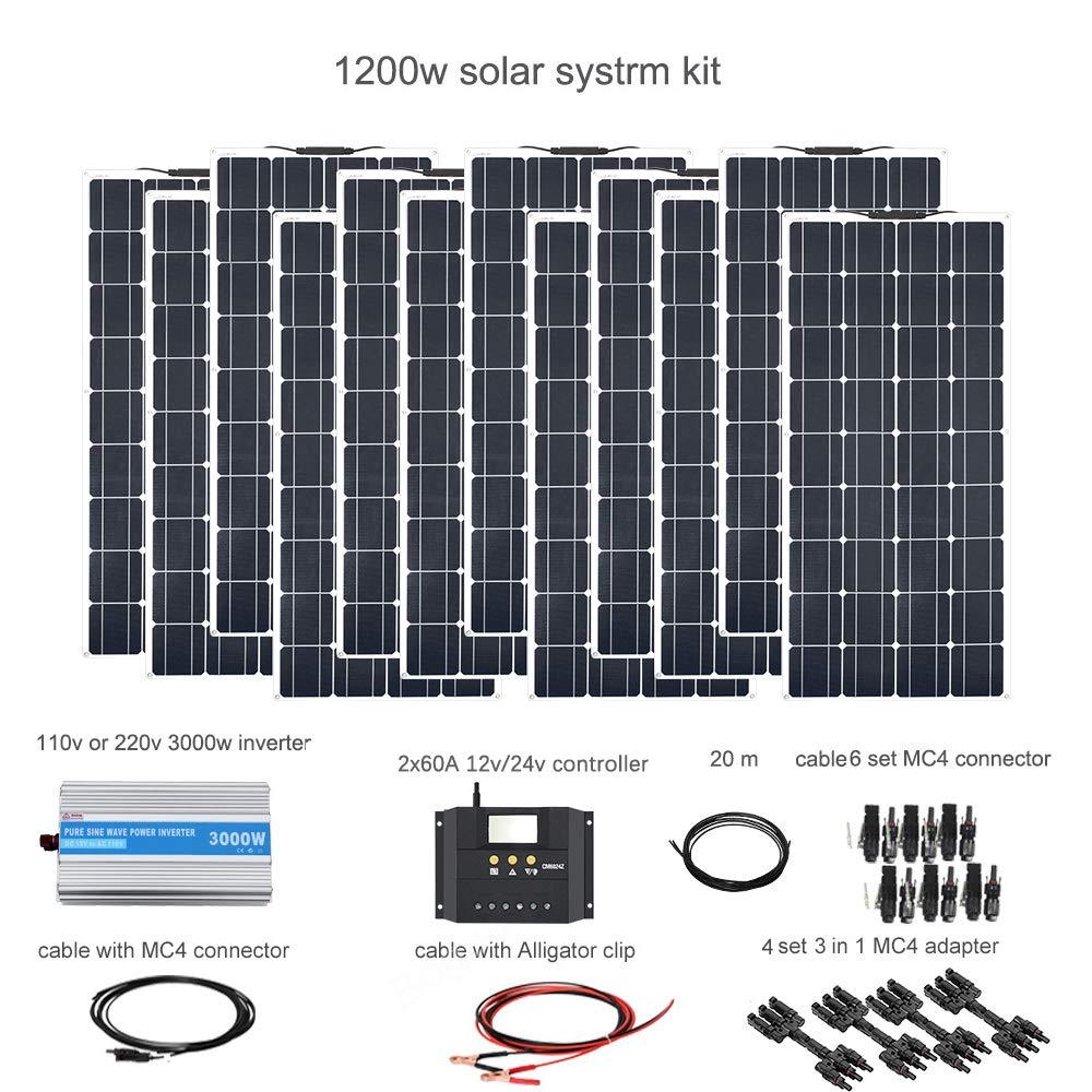 XINPUGUANG 1200w kit solar aislado 12x 100W 18v panel solar flexible pv módulo monocristalino 60A regulador inversor 3000w para RV yate caravana barco 12v cargador de batería